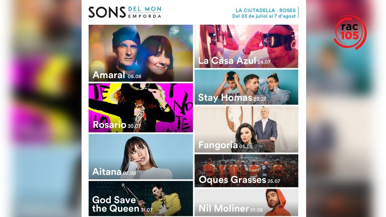 Oques Grasses, Stay Homas, Amaral, La Casa Azul i Aitana, entre d'altres, al festival Sons del Món de la Ciutadella de Roses