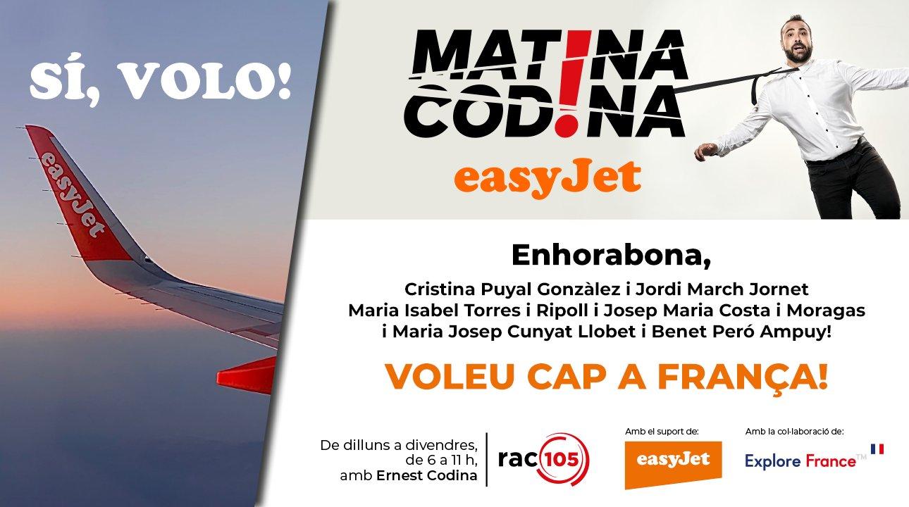'Matina, Codina!' i easyJet han reagalat vols a França a 3 parelles!